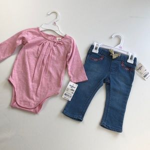 pink sparkle onesie & embroidery jean bundle
